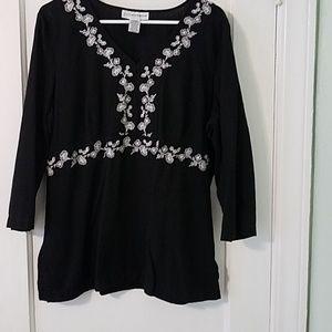 Sag Harbor women's sz XL linen/ rayan tunic top